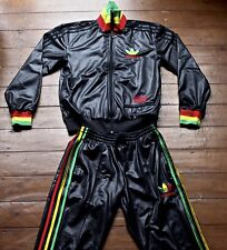 Adidas Chile 62 Full Tracksuit. Shiny Black with Rasta-coloured Stripes. Xsmall