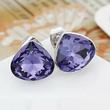 New Silver Stud Earrings with Purple Drop-shaped Swarovski Crystals Jewelry