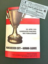 MANCHESTER CITY v GORNIK ZABRZE Final 1970 Ticket & Programme  REPODUCTION COPY