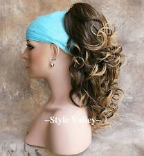 Brown Blonde Ponytail Hairpiece Extension Long Curly Claw Clip on in Hair Piece
