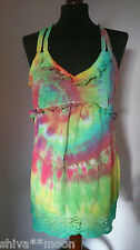 HIPPY BOHO TIE DYE GYPSY TOP BLOUSE HIPPIE BAY 12 SPIRAL RAINBOW 212G