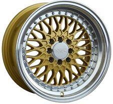 XXR 536 16X8 Rims 4x100/114.3 +0 Gold Wheels Fits Carrado Del So Civic Crx Fox