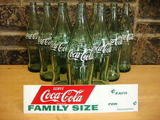 Coca-Cola 1950's 26 oz X large Glass Bottle with original cardboard ad sign