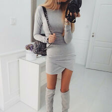 UK Womens Bodycon Long Sleeve Casual Tops Dress Ladies Party Evening Mini Dress