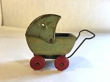 Vtg Mini Wooden Baby Doll Stroller Carriage BuggyToy Wood WheelsToy Old Antique