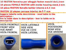 10 PCS TERMINALE CAPICORDA FASTON PREISOLATI FEMMINA INTERNO 6.3MM COME TABELLA