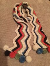 Madison 88 New York City Multi Color Wool & Chevron Pom Pom Scarf