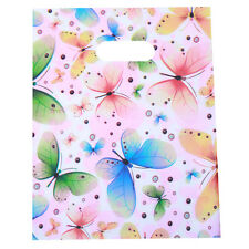 100pcs Mixed Color Butterfly And Circle Pattern Plastic Carrier Shopping Bags C