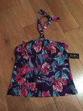 NEW DEBENHAMS JULIEN MACDONALD SIZE 12 TANKINI TOP PURPLE,PINK,TURQUOIZE