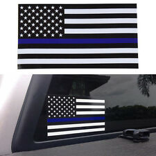 2Pcs Thin Blue Line American Flag Car Reflective PVC Decal Sticker Warning Decor