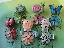 Garden Windmills - Pig, Cow, Lady Bug, Frog, Snail, Butterfly - Set of 6