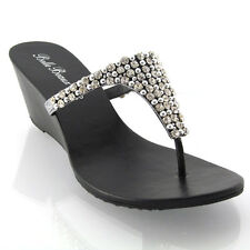 NEW WOMENS WEDGE DIAMANTE TOE POST LADIES SPARKLY DRESSY PARTY SANDALS SIZE 3-8