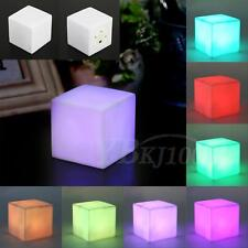LED Color Changing Cube Night Light Table Lamp Xmas Party Decor Ornament HG