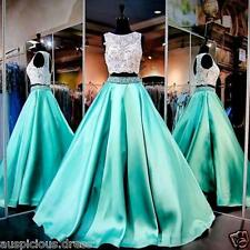 Two Pieces Pageant Formal Evening Dresses Gorgeous Mint Prom Gowns Custom Size