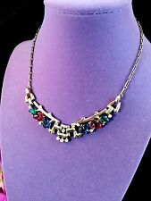 EXQUISITE 1948 CROWN TRIFARI GOLDTONE FLORAL FRUIT SALAD RUBY SAPPHIRE NECKLACE
