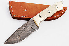 Damascus steel BLADE HANDMADE HUNTING FIXED BLADE KNIFE  BONE HANDLE