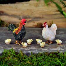 Miniature Fairy Garden Chicken/ Rooster Hen w 6 Chicks /Gnome Dollhouse GO 17274
