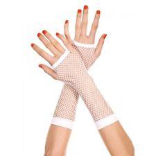 Reines Weiß Lang Fischnetz Fingerlose Handschuhe Reizwäsche P415