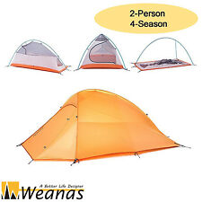 Weanas 2 Person 4 Season Dome Tent Waterproof Double Layer Ultralight Orange