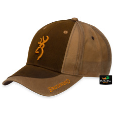 NEW BROWNING TWO TONE WAX COTTON HAT ADJUSTABLE BALL CAP BUCKMARK LOGO BROWN
