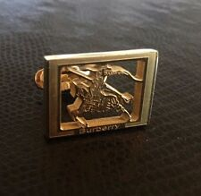 BURBERRY Cufflinks Gold Tone Horse Logo - NEW