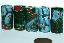 5 X green Millefiori beads Glas Perlen  Walze