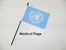 "UN SMALL HAND WAVING FLAG 6"" x 4"" United Nations Craft Table Desk Top Display"