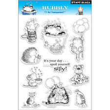 New Penny Black Bubbly Clear Acrylic Stamp Set Birthday Party Cat Kitty Critters