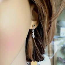 DESIGNER SMALL CRYSTAL DROP BRIDAL EARRINGS STERLING SILVER TINY STUDS HANDMADE