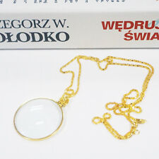 Decorative Monocle Necklace 5x Magnifier Magnifying Glass Pendant For Old Golden