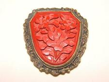 CHINESE CINNABAR BROOCH/DRESS CLIP