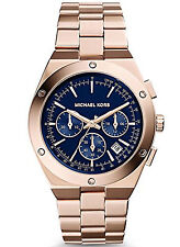 Michael Kors MK6148 Women's Chronograph Reagan Rose Gold-Tone Watch Blue Dial