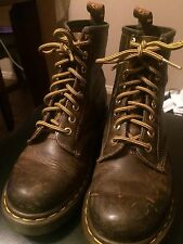 Womens Doc Dr Marten Sz 5 Lace up 8 Eyelet Boots Brown Distressed Bouncing Sole