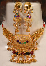 NW KUCHI TRIBAL GOLD PLATED CHOKER EARRINGS BELLY DANCE COSTUME INDIA BANJARA
