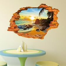 Sunshine Beach Breakthrough Wall Decals 3D Wall Stickers Kids Home Decor Mural