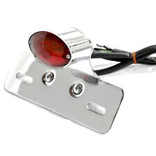 CHROME RED CAT EYE TAILLIGHT BRAKE LIGHT & TAG MOUNT HARLEY CHOPPER CAFERACER