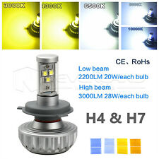 High Power H4 H7 LED Headlight Kit Fog Light Bulb Hi/Low Beam 5 Color Change