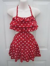 Red White Heart Cutout Dress Dance Costume Jazz MT Large Child LC 10 12 14