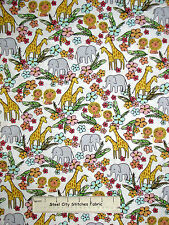 Jungle Animal Elephant Giraffe Lion Cotton Fabric Timeless Treasures C3346 YARD