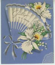VINTAGE WHITE ORCHID LILY OF THE VALLEY GARDEN FLOWERS EVENTAIL FAN CARD PRINT