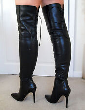 Superb REAR LACE Soft Leather High Heel Overknee Over Knee Thigh Boots 7 40 9.5