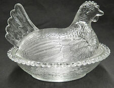 Indiana Glass Clear Hen on Nest HON Covered Dish