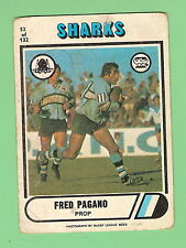1976  CRONULLA SHARKS  SCANLENS  RUGBY LEAGUE CARD  #52  FRED PAGANO
