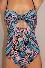 NWT Bikini Nation Swimsuit Bikini Bandeau one 1 piece Sz S Tribal Flower Print