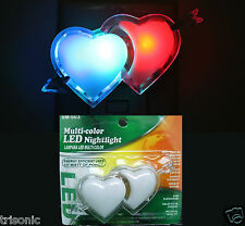 MULTI COLOR NIGHT LIGHT LED LAMP PLUG-IN WALL LOVE HEART DESIGN COVER DECORATION