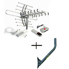 HDTV Outdoor HD TV 36dB Rotor Antenna + J-Pole Mast J-Mount Remote 360°150 Miles