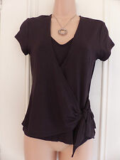 "Linea size S brown faux ""wrap"" top ""undervest"" jersey material, short sleeved"