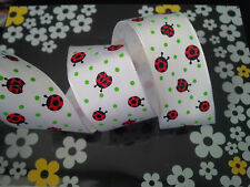 1m Ladybird Ladybugs Spotty White Wired Ribbon Cakes, Bows, Gifts, Decorations