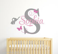 Custom Elephant Girl Name Wall Decal - Baby Room Decor - Elephant Wall Decor
