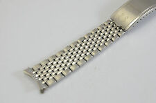 STUNNING FOR OMEGA STAINLESS STEEL GENTS WATCH STRAP CURVED ENDS RICE BEAD 18mm.